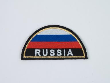 """Нашивка """"RUSSIA"""" с флагом (полукруг) на рукав"""